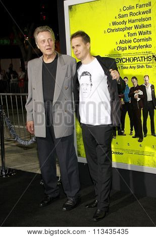 LOS ANGELES, CALIFORNIA - October 1, 2012. Sam Rockwell and Christopher Walken at the Los Angeles premiere of 'Seven Psychopaths' held at the Mann Bruin Theatre, Los Angeles.