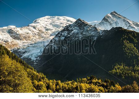 Mont Blanc,bossons Glacier And Pyramides-chamonix
