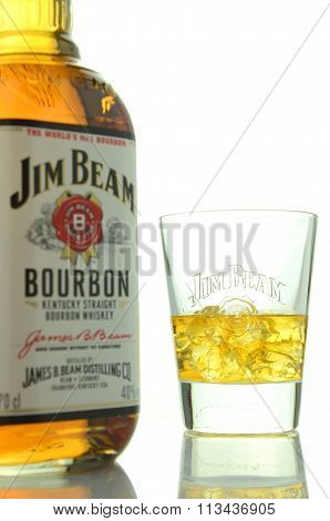 Jim Beam bourbon whiskey isolated on white