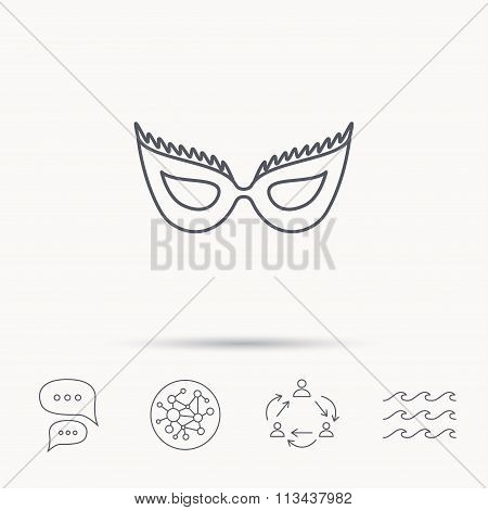Festive mask icon. Masquerade carnival sign.