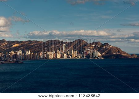 Coastline Of A Benidorm City. Benidorm Is A Modern Resort City, One Of The Most Popular Travel Desti