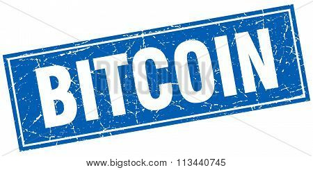 Bitcoin Blue Square Grunge Stamp On White