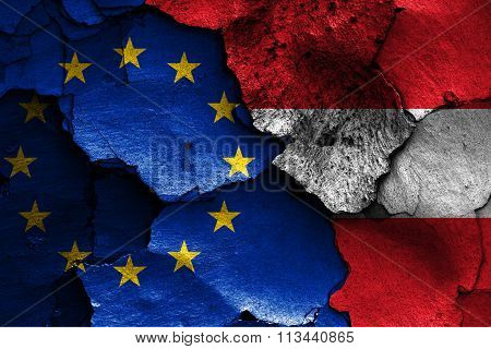 Flags Of Eu And Austria Painted On Cracked Wall