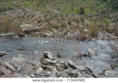 River mountain and rocks