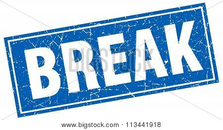 Break Blue Square Grunge Stamp On White
