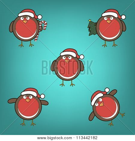 Bullfinches In Christmas Hats