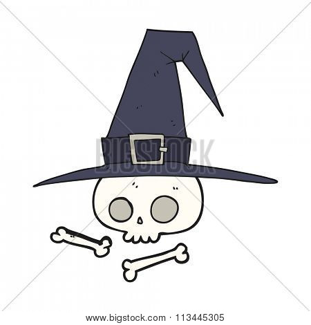 freehand drawn cartoon witch hat with skull