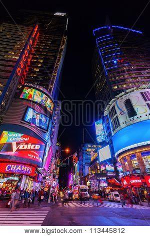 street view at Times Square, NYC, at night