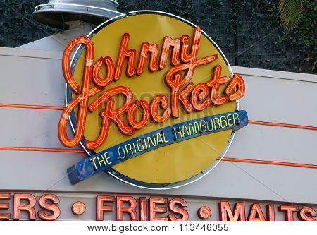 Johnny Rockets Restaurant Exterior And Sign.