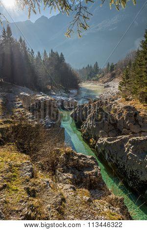 Mountain river gorge.