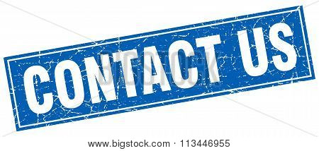 Contact Us Blue Square Grunge Stamp On White