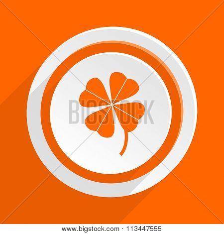 four-leaf clover orange flat design modern icon for web and mobile app