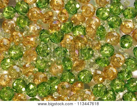 Green and yellow crystal glass beads