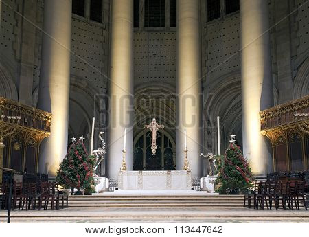 High Altar Saint John Divine Church During Christmas