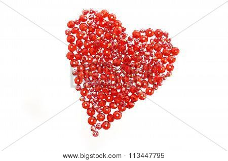 Red Valentine heart made from glass beads