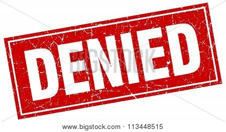 Denied Red Square Grunge Stamp On White