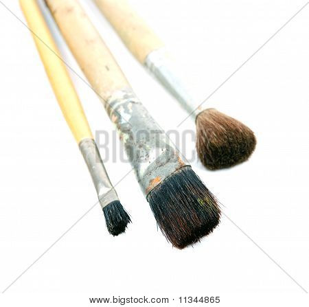 close up of paint brushes