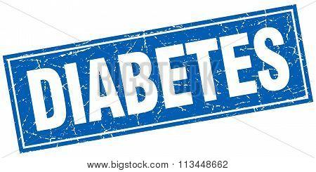 Diabetes Blue Square Grunge Stamp On White