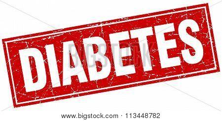 Diabetes Red Square Grunge Stamp On White