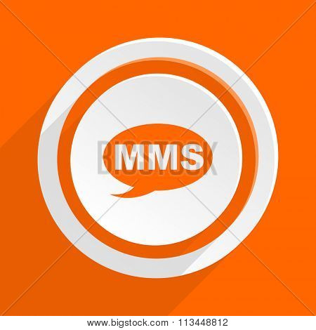 mms orange flat design modern icon for web and mobile app