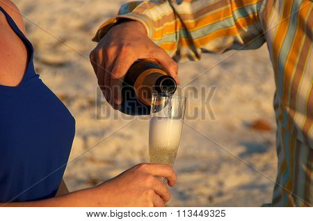 Champagne At Sunset