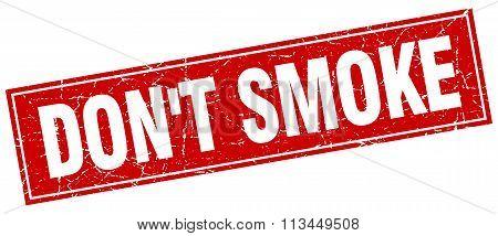 Don't Smoke Red Square Grunge Stamp On White