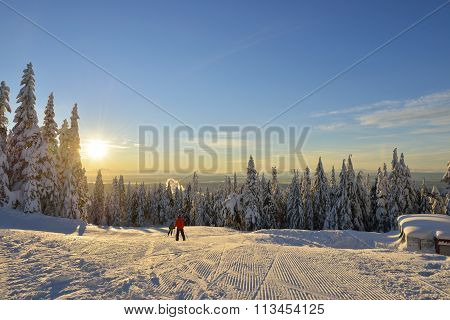 Grouse Mountain Ski Hills Sunrise
