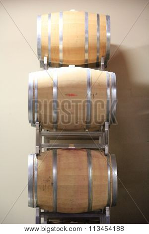 Wine barrels on a rack