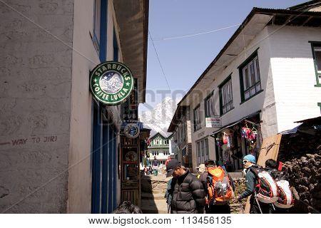 Starbucks sign in Lukla