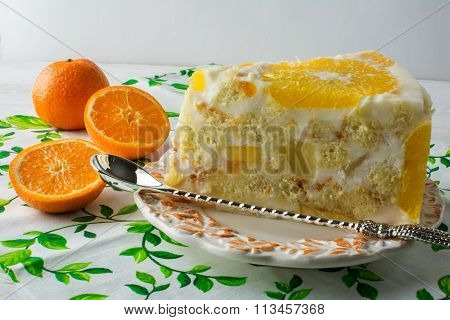 Delicious White Jelly Fruit Orange Cake