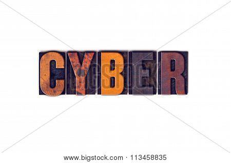 Cyber Concept Isolated Letterpress Type