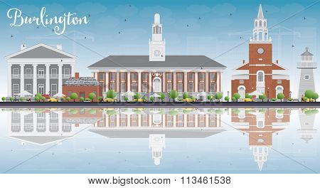 Burlington (Vermont) City Skyline with Color Buildings, Blue Sky and Reflections. Vector Illustration. Business and tourism concept. Image for presentation, banner, placard or web site