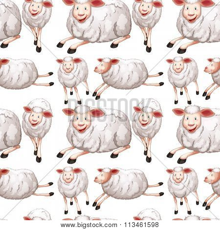 Seamless sheep with happy face illustration