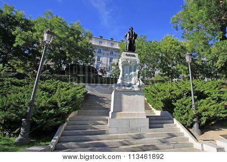 Madrid, Spain - August 23, 2012: Statue Of Goya Near Prado Museum In Madrid, Spain