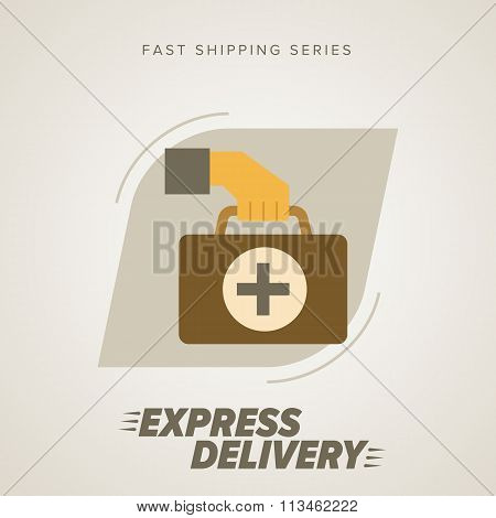 Medical Express Delivery Symbols. Vector