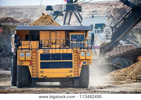 Big yellow mining truck. Belaz.