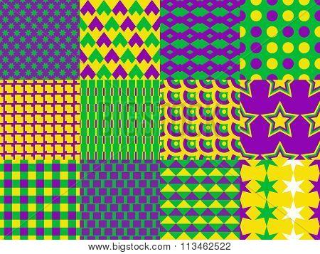 Mardi Gras seamless patterns