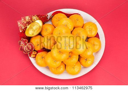Mandarin Oranges, Gold Nuggets, Red Packets, Chinese Good Luck Word