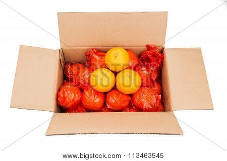 Mandarin Oranges  In Carton Box With Plastic Wrapper For Protection