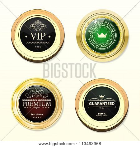Glossy And Gold Labels . Colored Stones Set In Gold. Brown