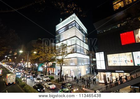 Tokyo, Japan - November 24, 2013: Tourists Shopping On Omotesando Street At Night