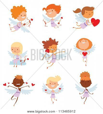 Valentine Day cupid angels cartoon style vector illustration. Amur cupid kids playing. Cupid cartoon kids vector illustration, Cute playfull Valentine  cupid angels isolated on white background