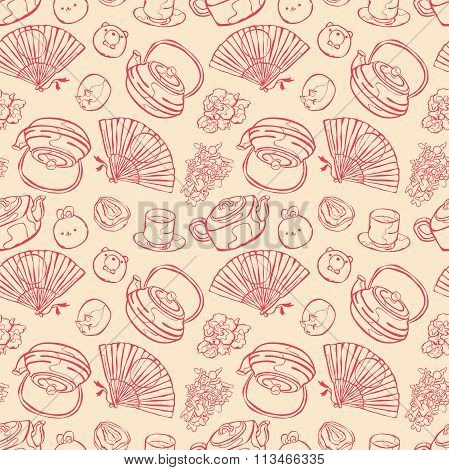Tea ceremony. Teapot and cup of tea. Tea cup. Desserts and sweets. Fan. Vector seamless pattern.