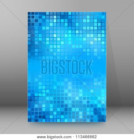 Blue Mosaic Squares Cover Page Brochure Background