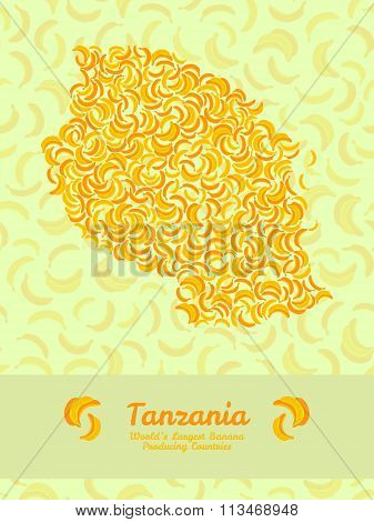 Tanzania map poster. Healthy food postcard.