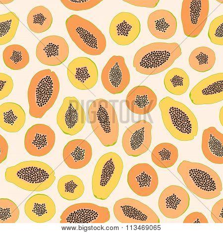 Seamless papaya background. Harvest ornament.