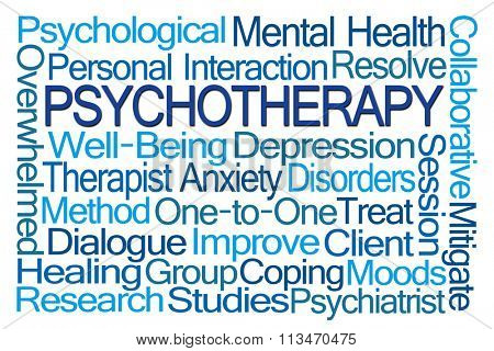 Psychotherapy Word Cloud on White Background