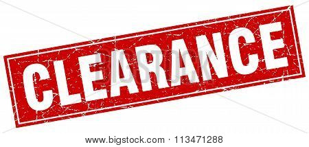 Clearance Red Square Grunge Stamp On White