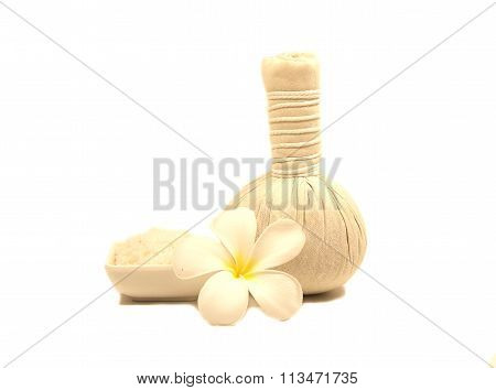 Spa massage compress balls, herbal ball on white
