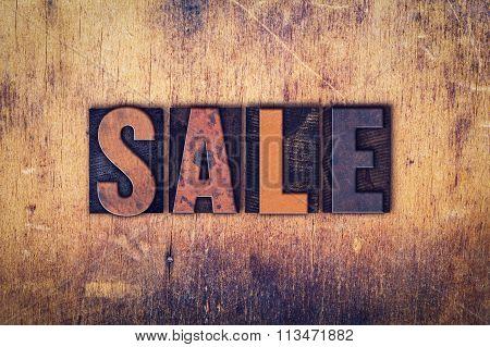 Sale Concept Wooden Letterpress Type